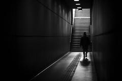 A Carabobo (Diego Epstein) Tags: tunnel metro subte vivitar 85mm f14 buenos aires buenosaires nikon d600 blackandwhite blancoynegro escalera stairs