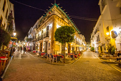 Directions (JKmedia) Tags: spain 2018 marbella night oldtown civilization street tree buildings restaurants paved lights light angle architecture boultonphotography explore