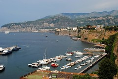 Sorrento harbour and Sant'Agnello (zawtowers) Tags: sorrento campania italy italia bayofnaples seaside town resort sorrentine peninsula wednesday 30 may 2018 warm dry sunny blue skies sunshine hot holiday vacation break summer santagnello distance harbour boat cruise ship moored