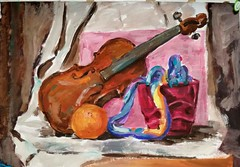 Nature Morte  acrylic paint, A3 2016 || Viktoria Milcheva (Tolia) (tolia.animation) Tags: naturemorte paiting acrylicpaint paint acrylic violin fruit light shadow