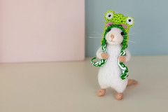 Don't laugh... (hehaden) Tags: mouse white needlefelted frog hat pastel tabletop macro sel90m28g