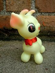 Kawaii Squeaky Deer (The Moog Image Dump) Tags: vintage soft vinyl toy figure deer cute kawaii red ribbon squeaky squeaker