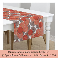 'Mixed oranges,dark ground by Su_G': table runner mockup (Su_G) Tags: 2018 sug 2013 spoonflower roostery tablerunner tablewear interiordecor homedecor homefurnishing homefurnishings oranges bloodorange mixedoranges citrus circle circles edible fruit food oilpainttexture oilpaints oils handpainted orange browns mixedorangesdarkgroundbysug mockup mixedorangesdarkground