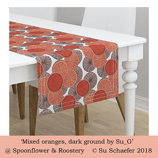 'Mixed oranges,dark ground by Su_G': table runner mockup