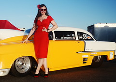 Holly_9260 (Fast an' Bulbous) Tags: shoebox chevy chevrolet car vehicle automobile drag racecar doorslamer fast speed power girl woman pinup model hot sexy red wiggle dress high heels stilettos shoes long brunette hair babe chick people outdoor santa pod