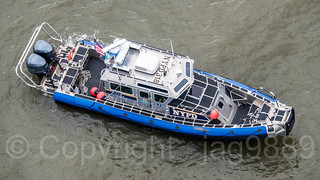 NYPD Police Patrol Boat Launch 318 on the Hudson River, Fort Lee, New Jersey