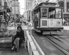 Powell Street (Jim Watkins Photography) Tags: sanfrancisco california streetphotography street powell streetcar woman blackwhite