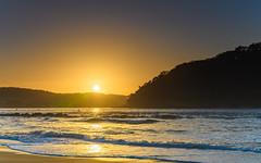 Sunrise Seascape with Sun (Merrillie) Tags: daybreak sunrise landscape ettalongbeach nature dawn sea water centralcoast morning oceanbeach newsouthwales waves uminabeach nsw waterscape beach ocean earlymorning ettalongbeachpoint cloudy coastal clouds sky seascape australia coast outdoors seaside