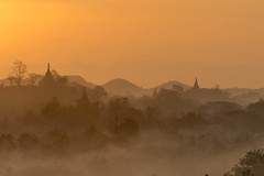 Sunrise over Mruak U Myanmar (Kathy~) Tags: sunrise goldenhour myanmar burma mruaku pagoda silhouette smoke fog friendlychallenges instagram