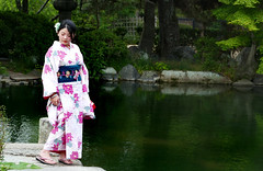 The kimono. (Bernard Spragg) Tags: kimono clothing wear japan kyoto lady fashion culture asia photoshoot moel maiden girl lumix travel pond pose soe lumixfz1000 fz1000