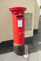 George V cypher B type post pillar box St Mary Street Brecon 10.08.2017 (2) (The Cwmbran Creature.) Tags: po p o gpo g general post office letter red street furniture heritage great britain united kingdom gb uk