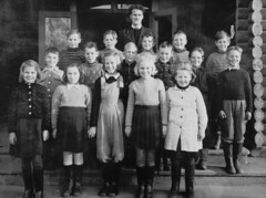 Class photo (theirhistory) Tags: children kids boy girl school pupils group jumper shoes trousers wellies rubberboots teacher