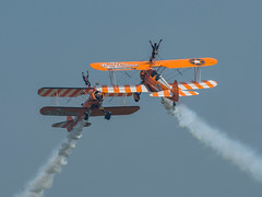 Wingwalkers (davepickettphotographer) Tags: httpwwwaerosuperbaticscom aerosuperbatics wingwalkers wingwalking uk iwm stearman aviation aircraft team iwmduxforduk duxford cambridgeshire cambridge airshow may daredevil flight flying