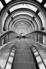 Handheld shooting [Explored] (明遊快) Tags: perspective paseege skylight escalator tunnel step people tourtist japan lines contrast bw monochrome walkway ceiling hallway reflections pattern