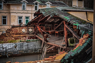 collapsed hotel roof