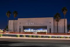 Sears Car Care (benakersphoto) Tags: nikon nikkor building light lights night city sign signs architecture phoenix az arizona sears retail mall