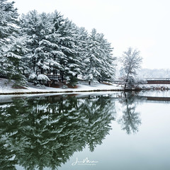 Snowy Lake Reflections (Wits End Photography) Tags: landscape winter season nature water frost icy outdoor lake weather snow trees plant tree cold bridge reflections architecture ice freeze color places white chill cool country exterior frozen infrastructure mirror natural outside picturesque pond pool reflection reservoir rural scenic view structure