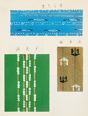 Vintage woodblock print of Japanese textile from Shima-Shima (1904) by Furuya Korin. Digitally enhanced from our own original edition. (Free Public Domain Illustrations by rawpixel) Tags: furuya korin otherkeywords tags antique asian background blue brown cc0 decoration design fabric furuyakorin graphic green illustrated illustration japan japanese name old pattern plate print printed publicdomain shimashima style textile textured vintage wallpaper woodblockprint woodcut