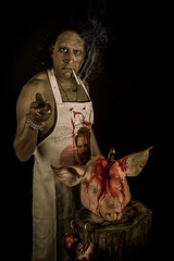 Butchered (neal1973) Tags: butcher smoke smoking blood knife pig pork meat dead death red bloody cliff richard cliffrichard apron head cigarette studio portrait portraiture