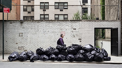 this picture is garbage (NYC Macroscopist) Tags: newyorkcity nyc manhattan street garbage trash urban sidewalk pile garbagebags leica digital