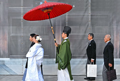 japanese wedding (poludziber1) Tags: street streetphotography skyline summer city colorful cityscape color capital travel tokyo japan people wedding umbrella red urban