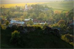 Blick hinter die Mauer (linke64) Tags: thüringen deutschland germany natur mauer raps rahmen frühling ort bäume häuser krölpa