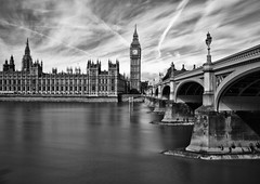 Before the scaffolding... (Joseph Pearson Images) Tags: london housesofparliament elizabethtower riverthames longexposure building bridge blackandwhite mono bw westminsterbridge palaceofwestminster