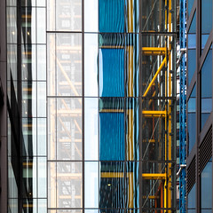 facade (morbs06) Tags: london rogersstirkharbourpartners theleadenhallbuilding abstract architecture blue building city cladding colour curtainwall facade gelb geometry highrise light lines pattern reflections repetition square stripes white yellow