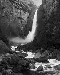 Lower Yosemite Fall (Rodney Topor) Tags: california landscape loweryosemitefall usa yosemitenp yosemitevalley waterfall blackandwhite bw monochrome xt2 xf1024mm