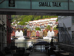 Bergen shoreline (m_artijn) Tags: bergen norway shoreline seethrough cafe houses cliché water sea small talk