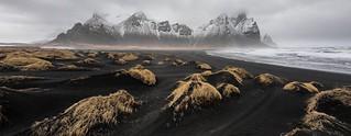 Vestrahorn at Stokksnes Iceland under moody skies