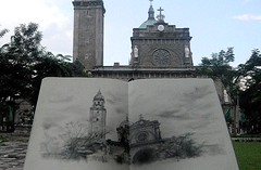 MANILA CATHEDRAL (ON LOCATION) (Sketchbook0918) Tags: cathedral church location urban sketch sketching sketchbook pencil trees raining architecure architectural drawing sky