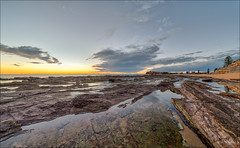 Morning colour (JustAddVignette) Tags: australia clouds collaroy dawn headland landscapes lowtide newsouthwales northernbeaches ocean panorama reflections rocks sand sea seascape seawater sky sunrise sydney water