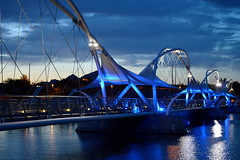 Blue Crossing (jeffr71) Tags: blue bridge colourfusion trueblue tempe arizonastateuniversity crossing lake water sky dusk sunset