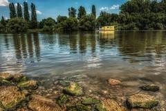 Papillon (hobbit68) Tags: fluss frankfurt river wasser water boats boot stone stein baum trees