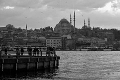 Istanbul life (Daniel Nebreda Lucea) Tags: city ciudad skyline people gente life vida street calle urban urbano urbana water agua river rio sea mar ocean oceano black white blanco negro monochrome monocromatico monocromatica light luz lights luces shadows sombras architecture arquitectura building edificio construccion calles streets istanbul turkey turquia estambul travel viajar day dia sun sol clouds nubes canon 60d 50mm harbour port puerto dique bridge puente