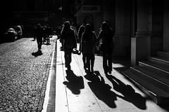 following the shadows (Özgür Gürgey) Tags: 2016 35mm bw d750 nikon samyang lines pavement people silhouettes street istanbul