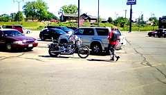 Motorcycle and rider! (Maenette1) Tags: motorcycle rider cars parkinglot menominee uppermichigan flicker365 allthingsmichigan absolutemichigan projectmichigan