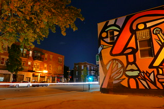 Montreal Abstract Portrait Mural & Passing Car at Night