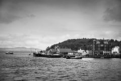 Oban Bay at High Tide (Joe Son of the Rock) Tags: oban obanbay boat ship ferry ferries calmac caledonianmacbrayne hightide glenetive pier northpier kerrera isleofkerrera innerhebrides columbahotel blackandwhite mononchrome