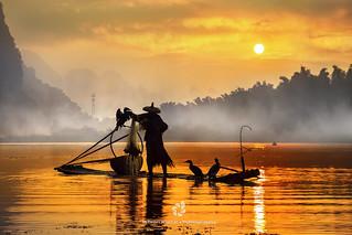 Silhouette of the Cormorant Fisherman III