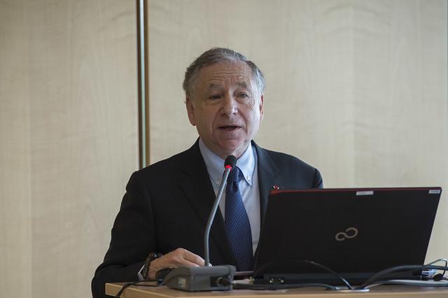 Jean Todt delivers a presentation