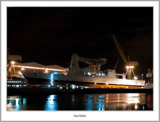 HMS Dauntless Pre Launch at Night