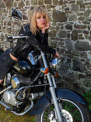 Girl on a Motorcycle (fstop186) Tags: girlonamotorcycle blonde girl beautiful leathers black chrome attitude stare portrait leatherjacket biker rock chic