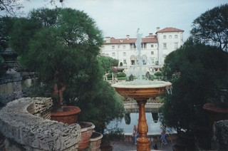 Vizcaya Museum and Gardens ~ Miami  Florida   - Water Fountain - Vintage Photo