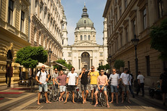 Electric bikers on tour in Budapest (http://bpwalk.com/photo-shoot-tour-of-budapest/) Tags: budapest basilica landmark landmaks cityscape city downtown bike biketour bikers ebike electricbike guide tourism tourist hungary magyar holland dutch