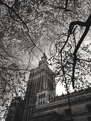 Palace of Science and Culture (ewitsoe) Tags: samsung mobile monochrome blackandwhite city warsaw warszawa poland postcardsofpoland palac urban ewitsoe erikwitsoe cityscapes spring