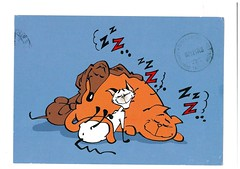 sweet dream from EllenD (elligerra) Tags: dog sleep cat postcrossing postcard