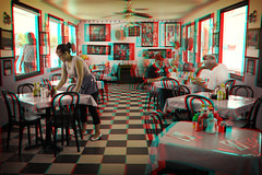 Beatty, Nevada (DDDavid Hazan) Tags: beatty nevada deathvalley diner restaurant waitress tables travel usa anaglyph 3d bwanaglyph blackandwhiteanaglyph 3danaglyph 3dstereophotography redcyan redcyan3d stereophotography stereo3d