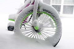 Waited for a spring sun all winter long (Atakan Eser) Tags: kids personal play bike girls green pink rim snow wheel dsc2371